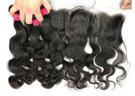 Natural Peruvian Human Hair Weave / Body Wave Hair Bundles With Frontal