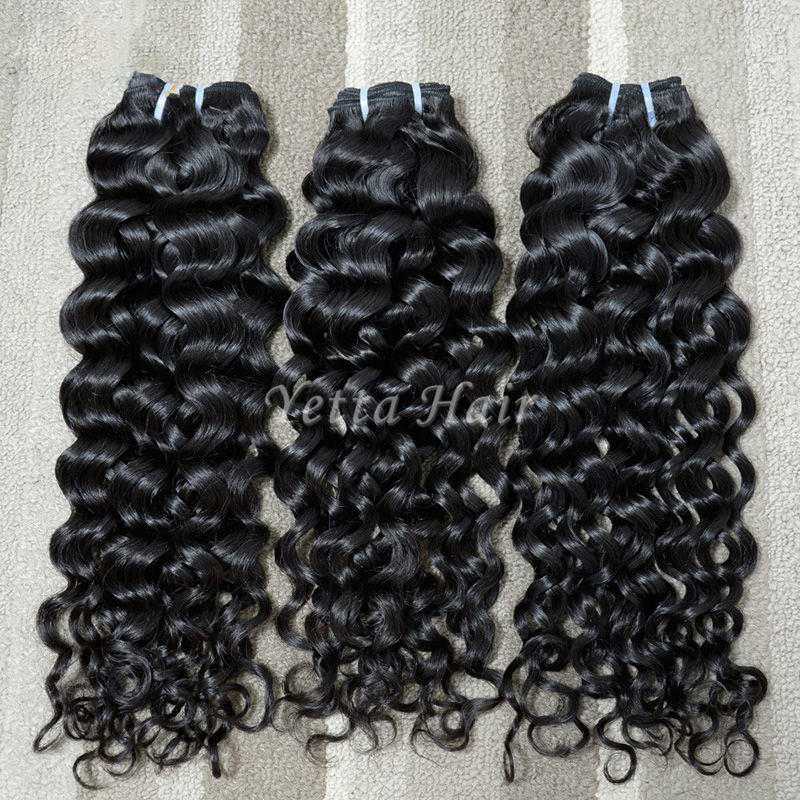 Full Hair Bundles Malaysian Curly Hair Extensions Wet and Wavy Hair 1B#