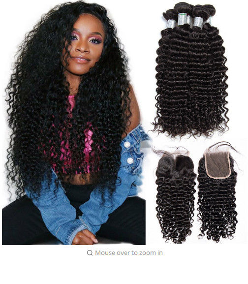 Deep wave Peruvian Virgin Unprocessed Human Hair Bundles With Closure 4 By 4