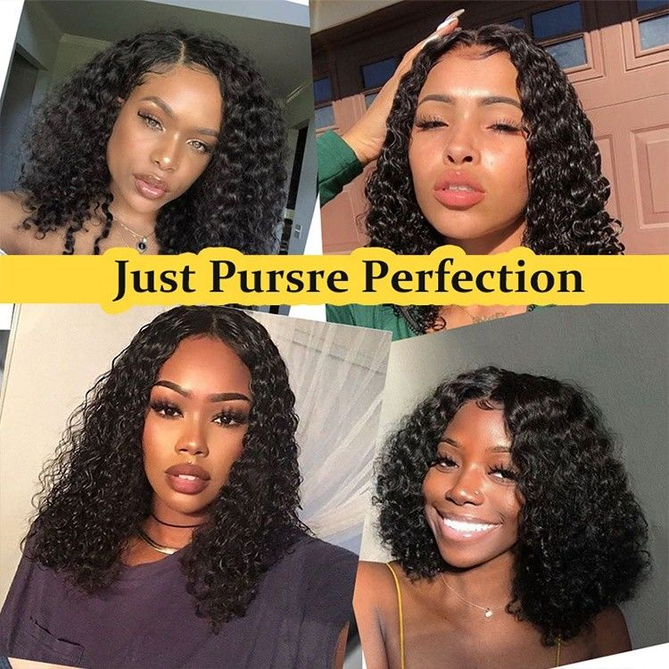 Black Human Hair Lace Front Human Hair Wigs 13x6 Lace Area Water Wave