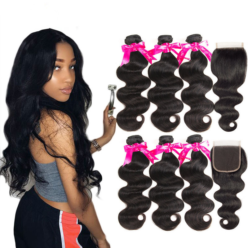 Soft Cambodian Virgin Hair Body Wave 10A Double Weft Bundles With Top Lace Closure