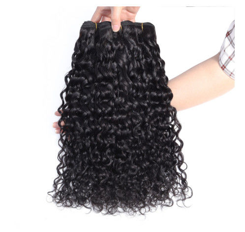 20 Inches Water Wave Long Hair / Virgin Cambodian Hair Extensions Double Weft