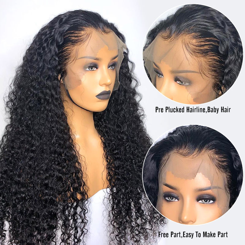 10A Grade 100% Brazilian Full Lace Human Hair Wigs Natural Hairline Deep Wave