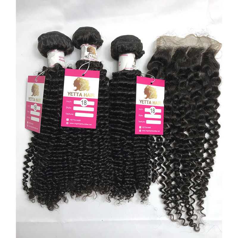 18 Inch Peruvian Kinky Curly Hair Bundles With Closure Natural Color